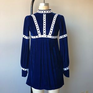 Vintage 60's Blue Velvet Empire Waistline Dress